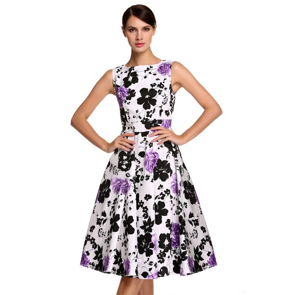 ACEVOG Women Dress Retro Vintage 1950s 60s Rockabilly Floral Swing Summer Dresses Elegant Bow-knot Tunic Vestidos Robe Oversize 17