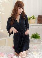 женская сексуальное черный / фиолетовый искушение ночная рубашка халаты пижама женское белье + г - строка бесплатная доставка wl2