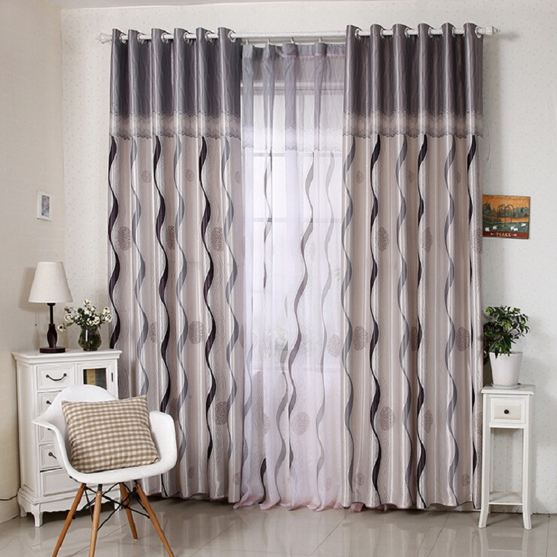 New Luxury High Quality Curtains For Living Room Voile With Line Pattern Ready Made Window D03930
