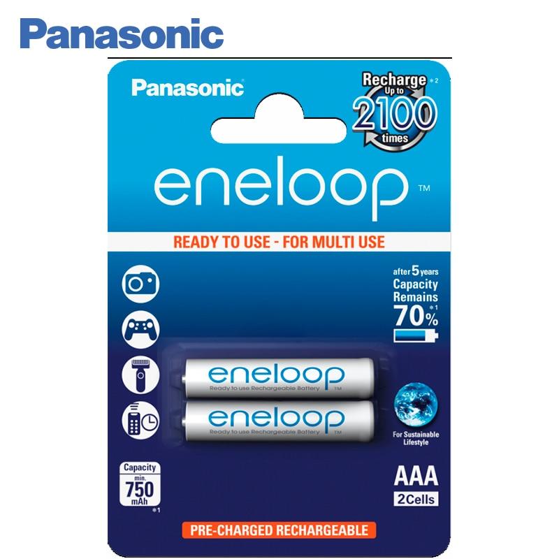 Panasonic BK-4MCCE/2BE Rechargeable Batteries eneloop 750mAh AAA R03 BL2