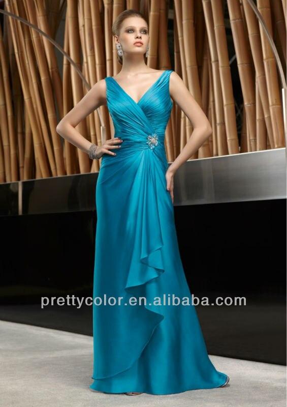 2013 Azul V Escote Drapeado Vestidos de Invitados Con Cuentas Broche ...