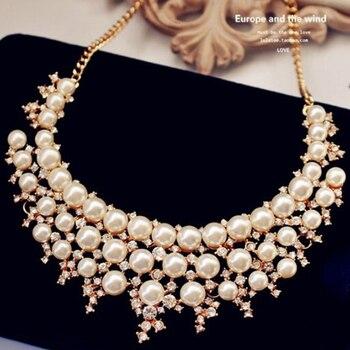 afb1c53232da Moda mujer chapado oro cadena collar cristal imitación perlas gargantilla  collar dulce declaración collar joyería