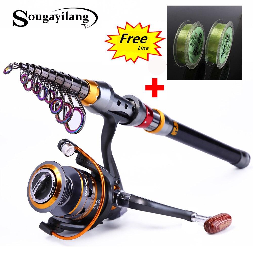 Sougayilang 1.8-3.6 m Telescopica Canna Da Pesca e 11BB Mulinello Da Pesca Ruota Portable Viaggi di Pesca Rod Spinning Canna Da Pesca Combo