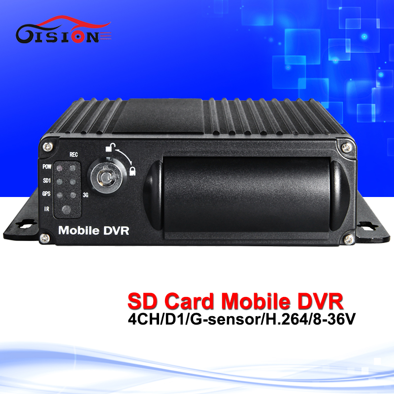 H.264 Dual SD Card Security Mobile Dvr 4CH Video Recorder Car Accessories Support Playback G-sensor Loop Recording Car Dvr  free shipping 4 ch 4g gps vehicle car dvr kit h 264 g sensor mobile dvr pc phone real time view duty cctv camera for car truck
