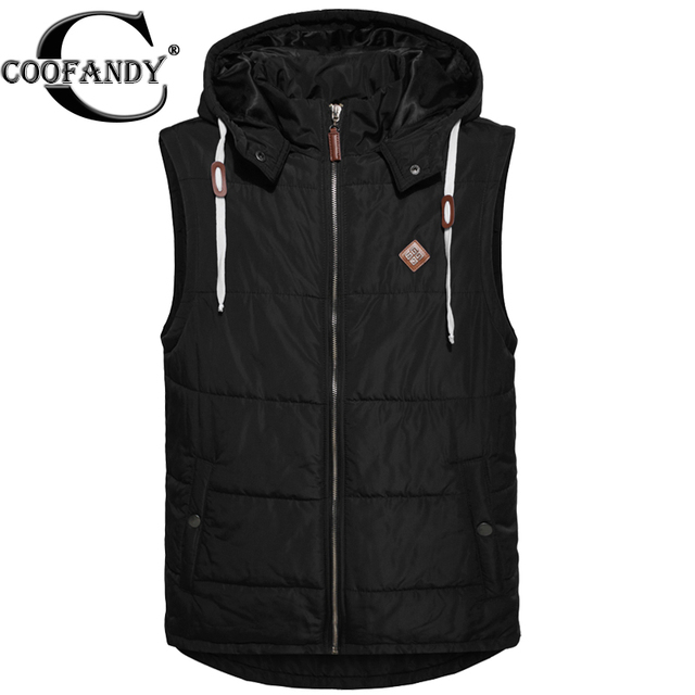 COOFANDY Men Winter Vest Coat Fashion Casual Zip-up Thick Sleeveless Jacket with Removable Hoodie Vest Coat US Size M/L/XL/XXL