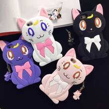 New Fashon Sailor Moon Cartoon 3D Luna Cat  Artemis Mobile Mhone Case Soft Silicone Cover Fundas for iPhone 6 6s 6 Plus 6s Plus