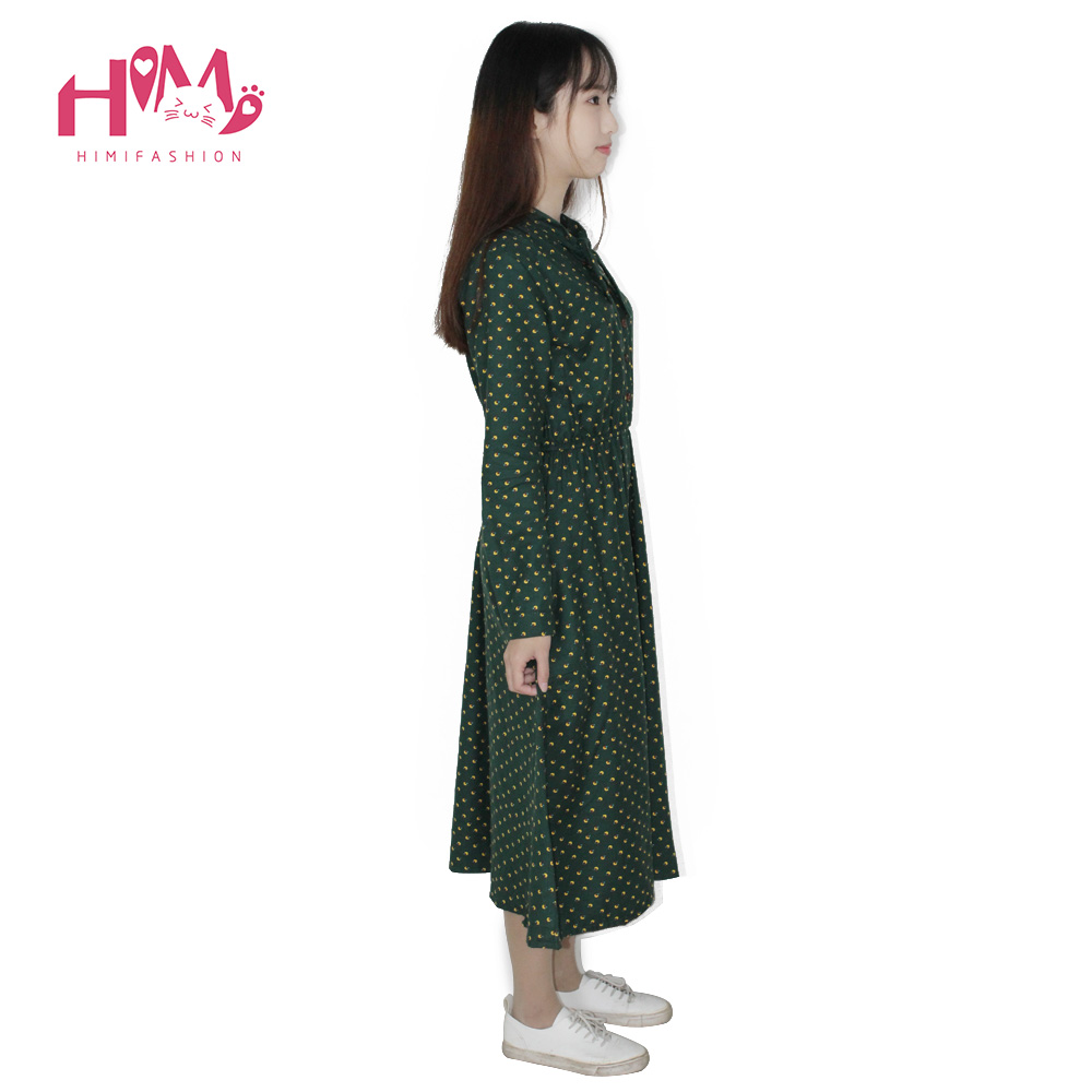 Cute Green Floral Dress Vintage Ladies Dresses Bohemian Style Autumn Winter Long Sleeves All Match New Fashion Long Sleeve Dress 5