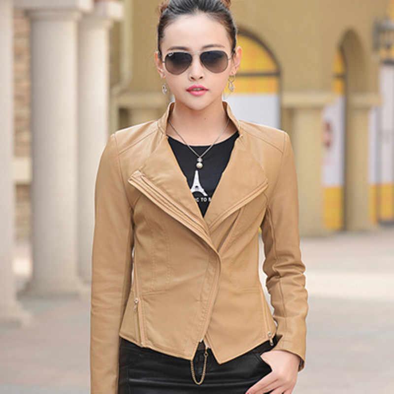 2019 新しい女性ファッションレザージャケット春の秋の服ショートスリムカジュアルコート羊革ジャケットプラスサイズ WUJ0062