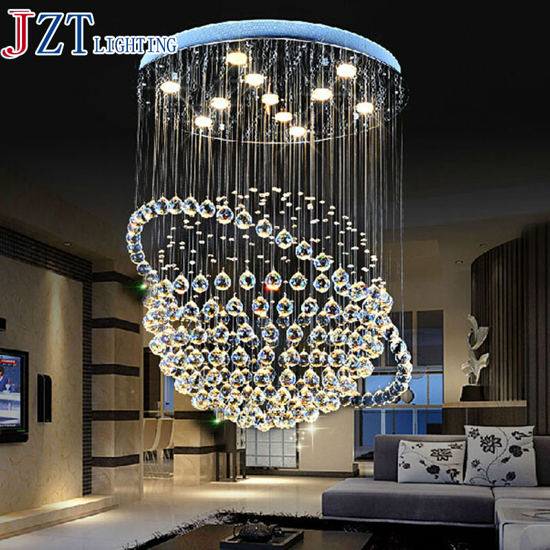 M Modern Creative Crystal Dining Room Pendant Light Circular Staircase Droplight Globe Led GU10 35W K9 Crystal Ceiling Lamp