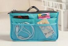 Wholesale 12 color Mp3 Phone Cosmetic Storage Organizer 100% Nylon dual zipper Bag In Bag Handbag 100pcs Free Shipping