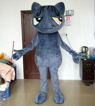 Grey big eye cat mascot costume adult cat costume