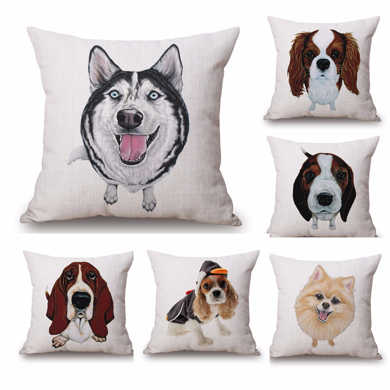 Husky Dog Cushion Cover Pillow cojines Dachshund Vintage Home Decorecorative Colorful British French Bulldog Throw Pillow Cover