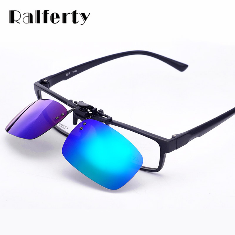 cfb22e850fbd Ralferty Polarized Clip on Sunglasses Men Flip Up Polaroid Sun Glasses Lens  Coating Glasses Driving Sport