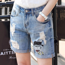 Свободные Короткие Джинсы Женщина Джинсовые Pantalones 2016 Новый Стиль Cortos Mujer Deporte Моды Жан Femme Бурлящие Штаны Высокая Талия Джинсовой Короткой