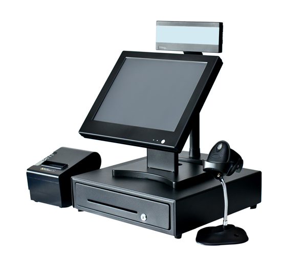 """15"""" touch Pos system touch pos all in one EPOS barcode scanner receipt printer cash register customer display"""