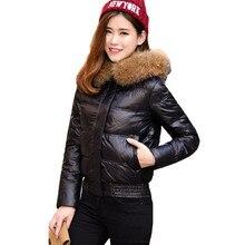 2016 новая мода зимняя куртка женщин с мех енота короткие пуховик большой Настоящее меховым воротником теплое зимнее пальто женщин DX651
