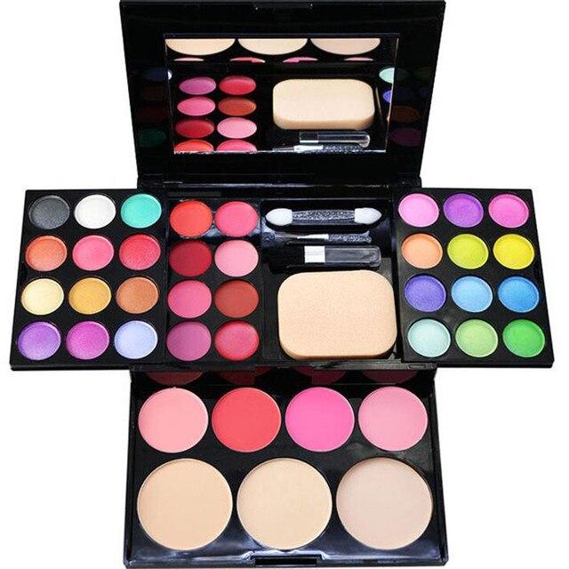 24 Placa de Color de la Luz Del Grano Liso Inferior Profesional Makes Up Kit Con Espejo Labio Crema de Fundación Rubor Paleta Set