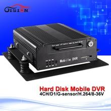 2016 Hotsale Hdd Dvd grabador de 4 canales Cctv del coche Dvr soporte de visión nocturna reproducción grabación en bucle de disco duro móvil Dvr