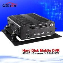 2016 горячая распродажа Hdd dvd-рекордер 4 канала видеонаблюдения автомобильный видеорегистратор поддержка ночной прицел воспроизведения loop-записи жесткий диск мобильный видеорегистратор