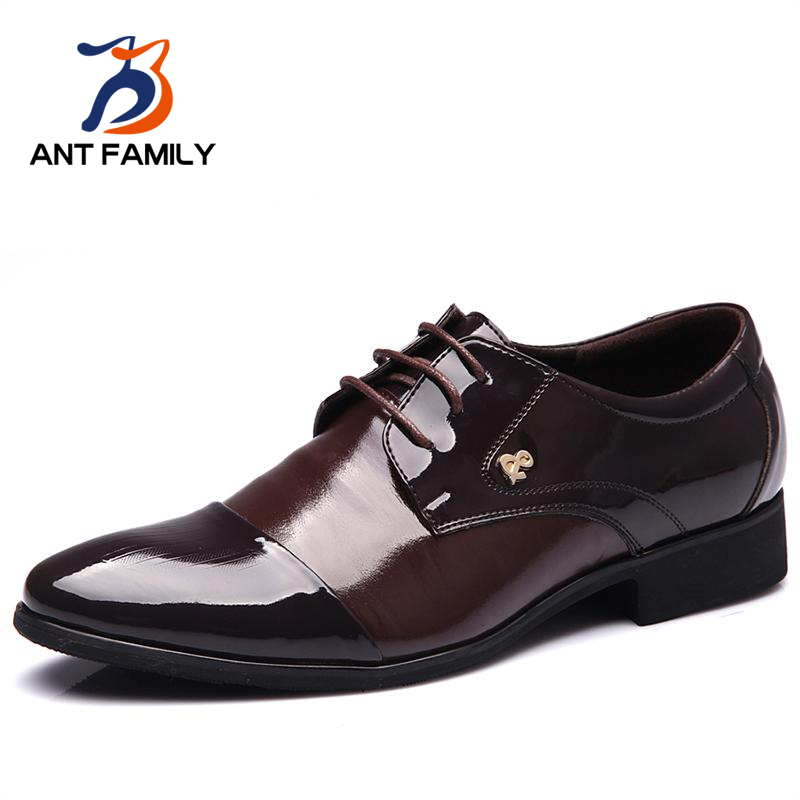 2016 Fashion Men Pointed Toe Flats Shoes Business Luxury Brand Lace Up Formal Wedding Dress Shoes Italian Leather Shoes Men от Aliexpress INT