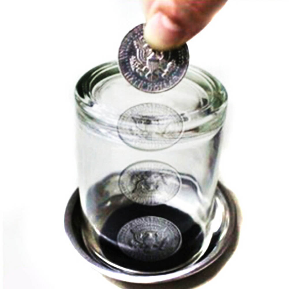 Magic Trick Props Coin Penetrates into the Cup Tricks The Good Stretch COINS Through the Glass