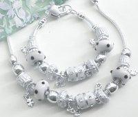 925 серебро белый бусины цепь с ожерелье и браслет комплект ювелирные изделия комплект