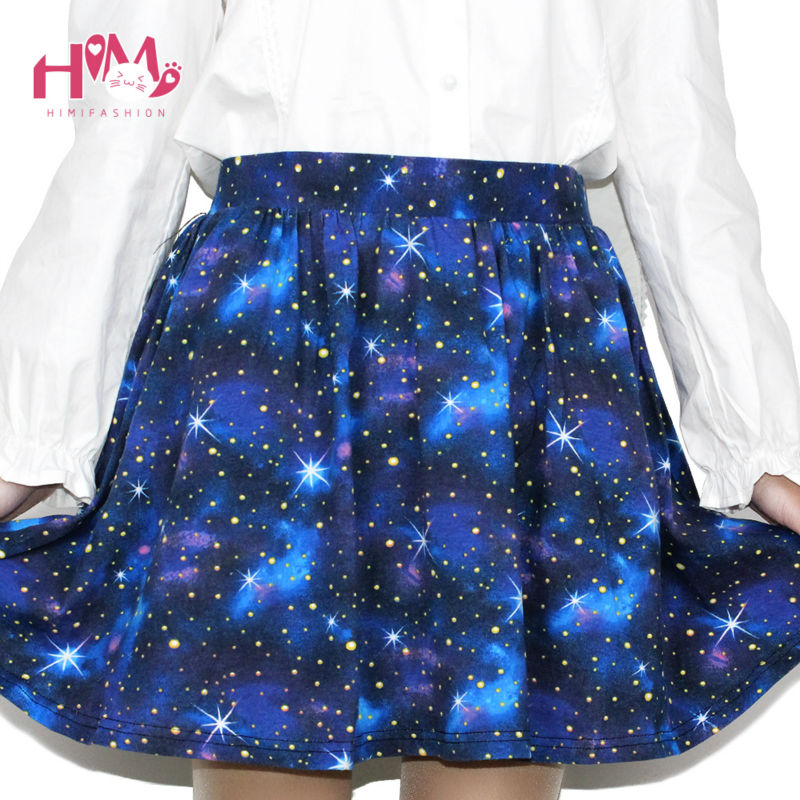 Harajuku Starry sky skirt astral print skirts summer tutu cotton skirt blue color emoji starry galaxy skirt cotton free shipping (3)