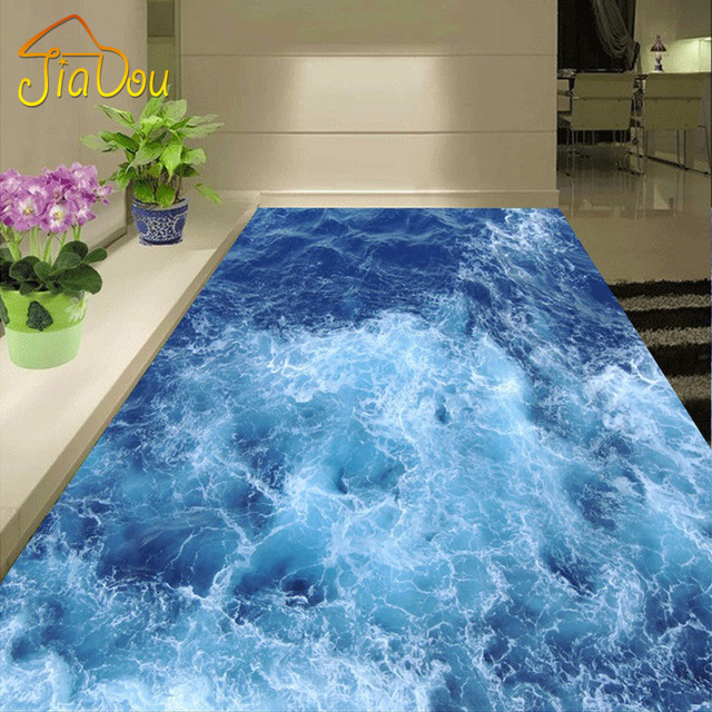 Custom floor mural wallpaper blue sea living room bathroom for Blue vinyl flooring bathroom