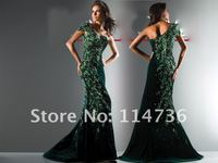 горячая распродажа весна бархат зеленый одно плечо лиф длиной до пола, молния сексуальное с выпускного вечера платья вечерние платья
