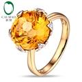 Free shipping 14KT/585 Yellow Gold 7.21ct Natural Citrine 0.05ct Round Cut Diamond Engagement Gemstone Ring Jewelry