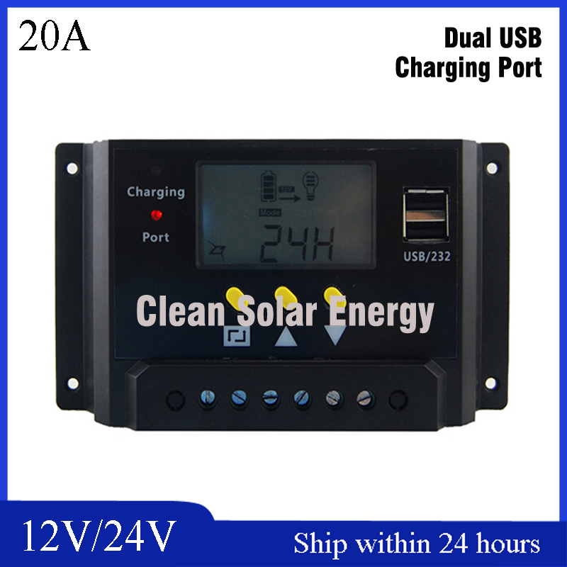 PWM Mode 20A Solar Charger Controller 12V 24V Auto Identification with LCD Display and USB Port 20A  Solar Controller regular fit plus size mens straight jeans classic blue drawstring waist oversize denim trousers s 7xl 29 48