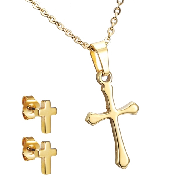 Stainless Steel Jewelry Set Gold Color Cross Smooth Pendant Necklace