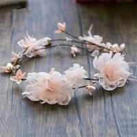 Rose De Mariée Guirlande Artificielle Fleur Bandeau Guirlande Mariée Bouquets Tissu Fleurs Bandeau De Cheveux De Mariage Accessoires WIGO0937