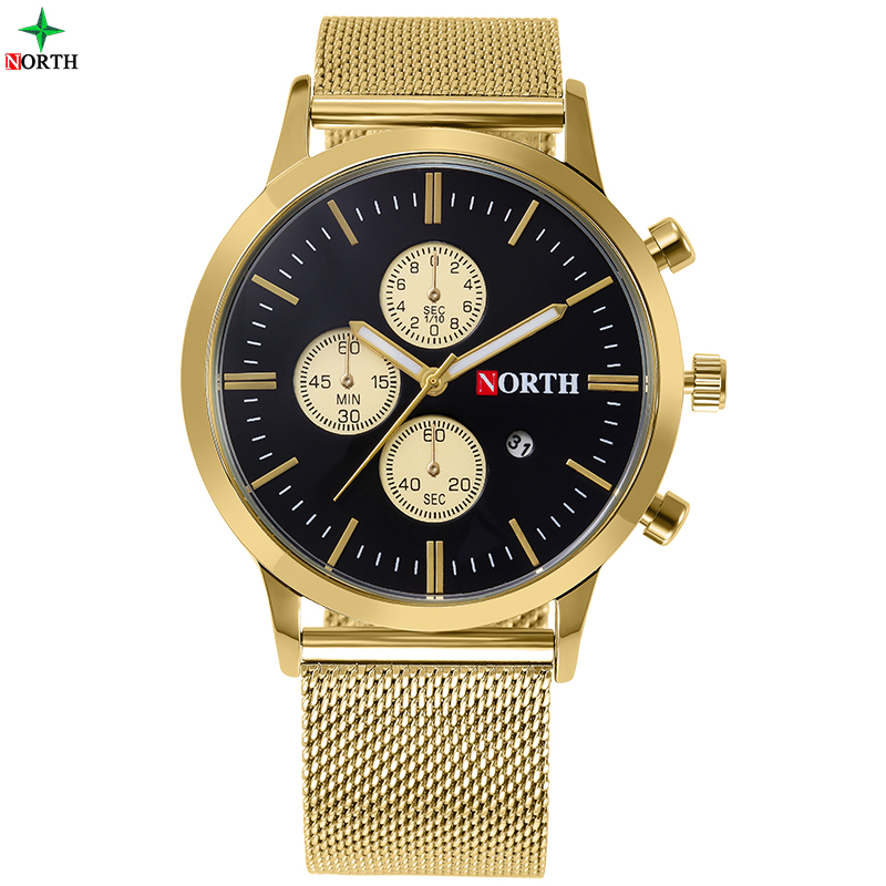 NORTH Men Fashion Casual Watch 30M Waterproof Male Clock Gift Military Quality Calendar Golden Quartz Business Wristwatch
