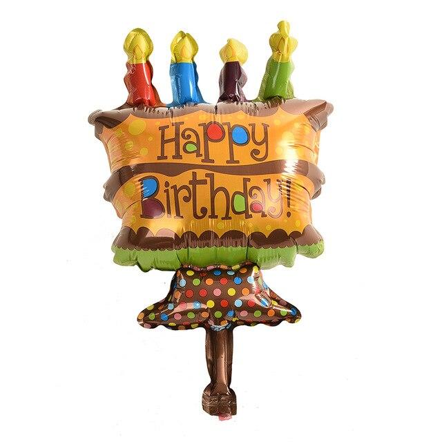 ETYA 5PCS/Set 48*26cm Mini Chocolate Cake Happy Birthday Balloons Foil Ballons F