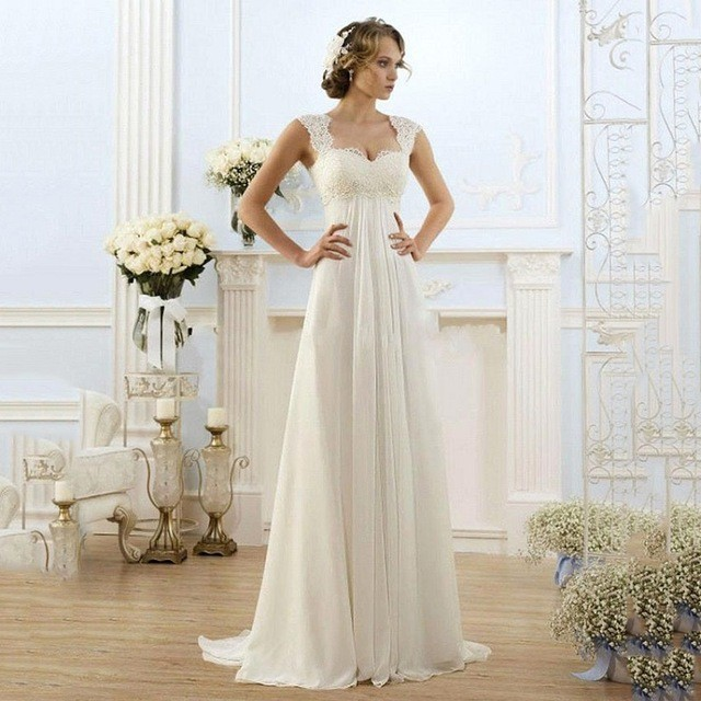 Sa195 Simple Summer Chiffon Lace Long Train Backless Beach Wedding Dresses 2016 In Wedding Dresses From Weddings Events On Aliexpress Com Alibaba