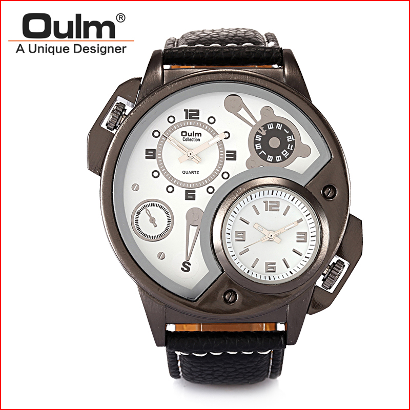 font b Oulm b font HP3578 Man Watch Leather Starp Watch Multiple Time Zone font