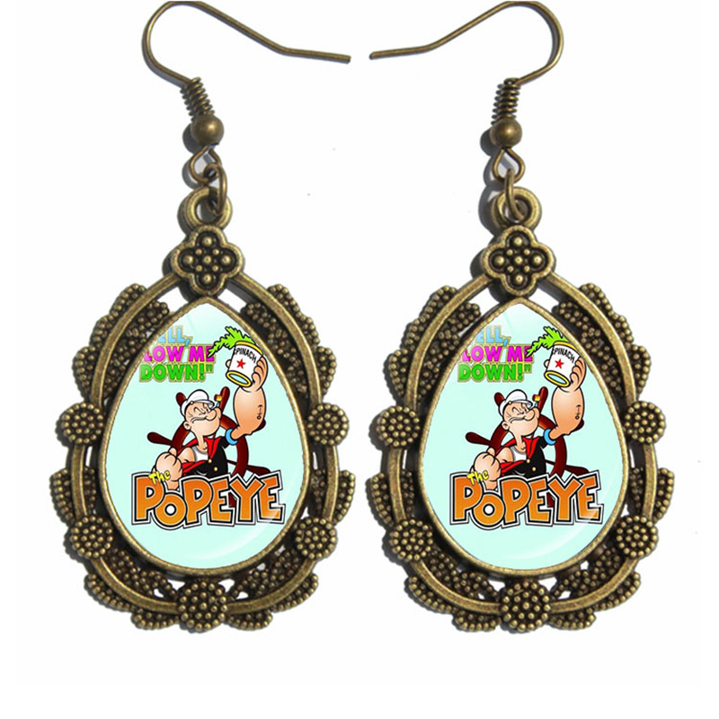 Popeye the Sailor Man Muscle Antique Bronze Long Earrings Mother and Daughter Gift Best Friend Jewelry Lucky Lace Earrings