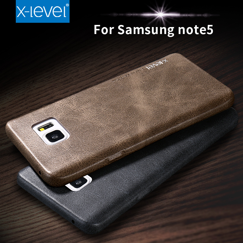 X-Level Case For Samsung Galaxy Note 5 Leather Cover For Samsung Note 5 Cases and Covers Vintage Mobile Accessories Cases Plain