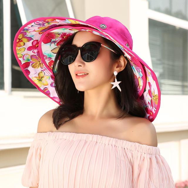 2017 Fashion Summer fashion foldable large brim UV Women's Beach Sun hats female detachable sunbonnet fedoras ladies sun hat