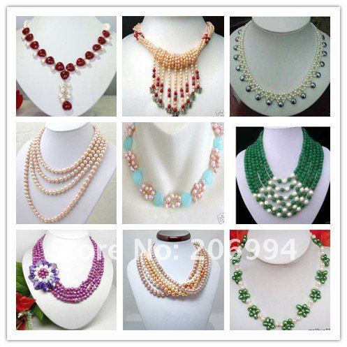 new arrive design Beautiful 3 rows 7 8 white freshwater pearl ...