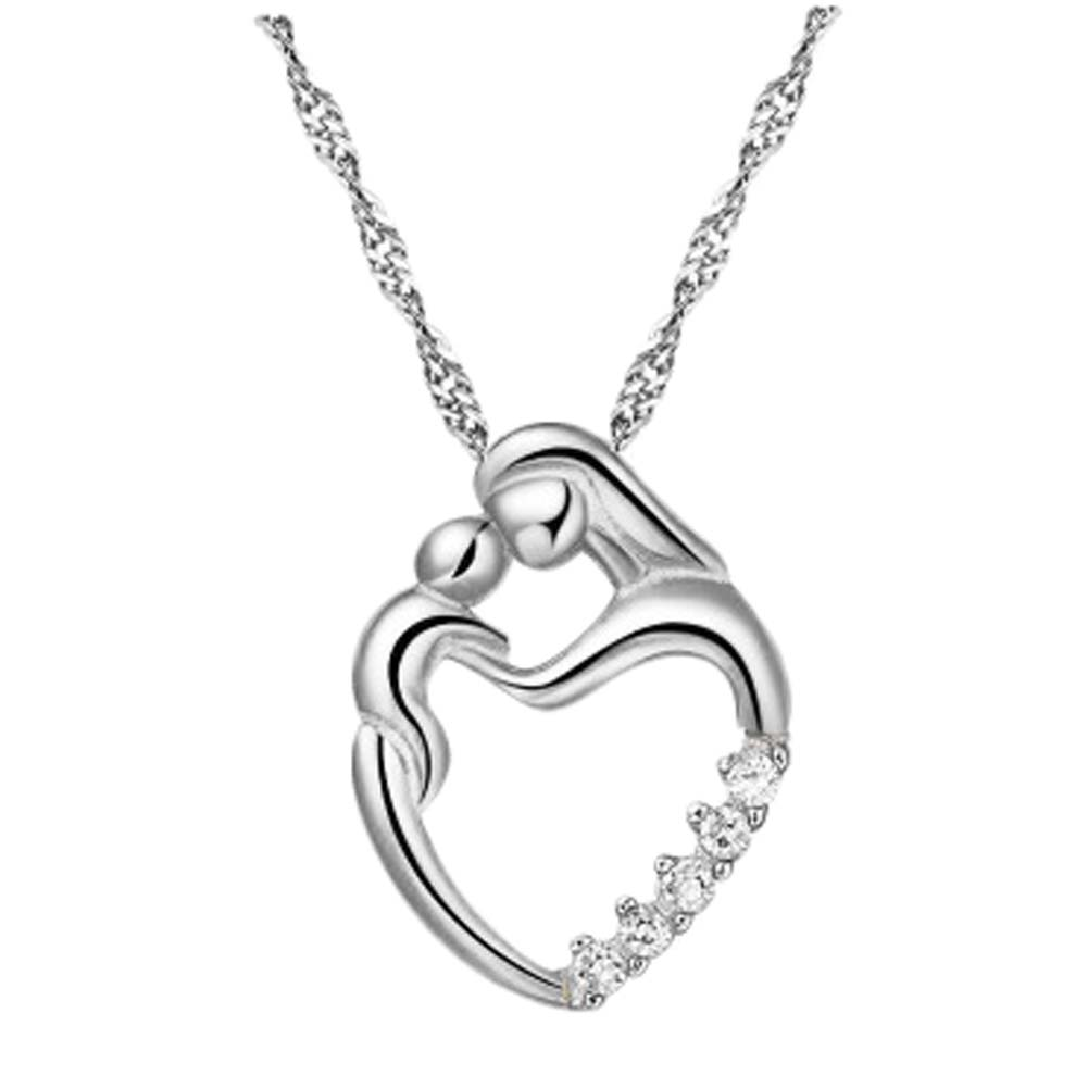 new Silver Gold Color Love Heart Necklace Mother Hold Baby Family Necklace Jewelry Gifts