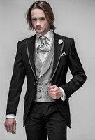 Chaleco Chaqueta Pantalón Negro Alcanzó Solapa Un Botón de plata Hecho A Medida Trajes de Hombre de Moda Slim Fit Terno masculino 2016 de Alta calidad
