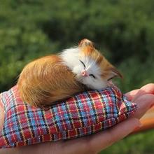 spring decoration sleeping little kitty cat