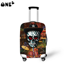 2016 ONE2 Design magic hat skull pattern printing cover apply to 22,24,26 inch suitcase elastic carry on travel luggage cover
