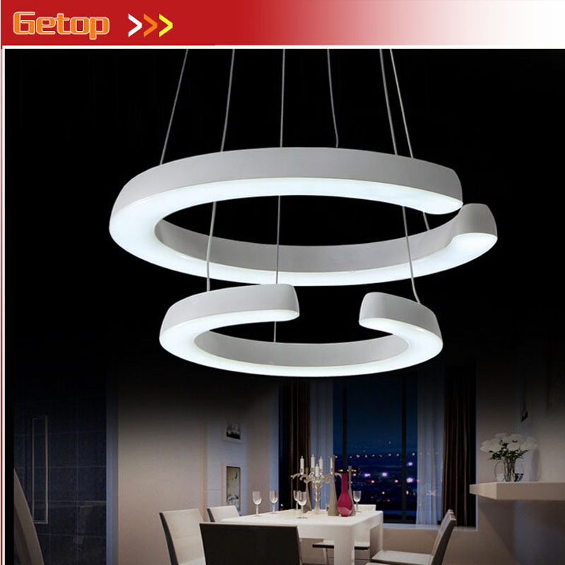 ZX Circular Two Rings White Acryl Chandelier Fixture Iron Chassis LED Chip Light Art Projects Dining Room Livingroom Bedroom art projects