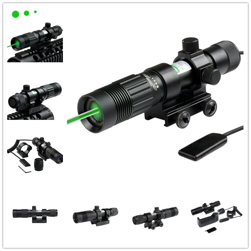 Tactical Flashlight Adjustable Laser Sight Green Illuminator Designator with Weaver Mount and Switch for hunting