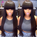 Glueless Full Lace Human Hair Wigs With Bangs 7A Brazilian Straight Lace Front Human Hair Wigs Full Lace Wigs Straight Wig Bangs