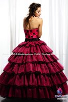 2012а + новинка! драматический красный без бретелек бальное платье из органзы пышное платье с богато украшенными блестками звезды