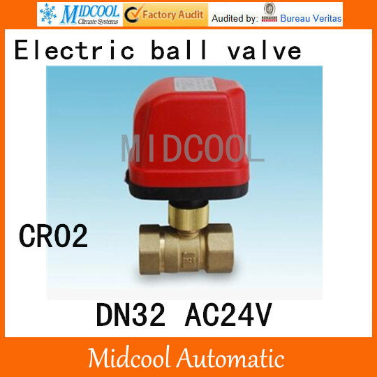 CWX 50K Small fast pass valve Brass Motorized Ball Valve 1 1/4 DN32 AC24V electrical controlling (two way) valve wires CR 02